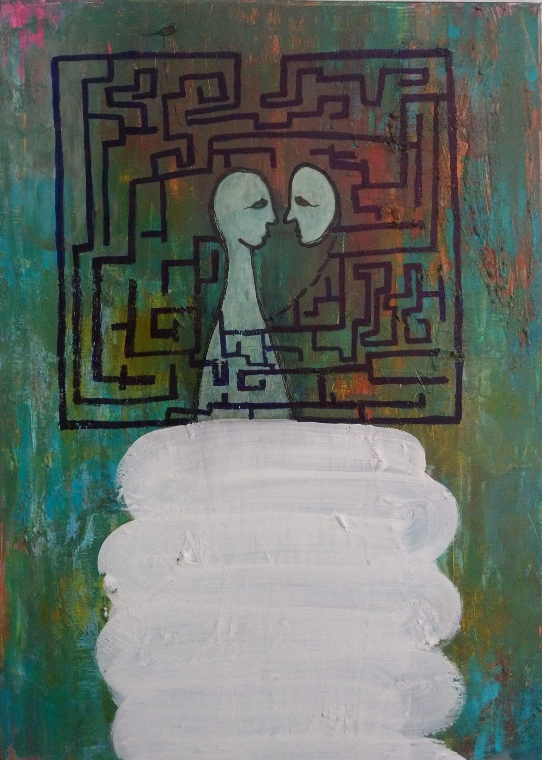 Maalaus, jossa kaksi ihmishahmoa seisoo labyrintin keskellä.