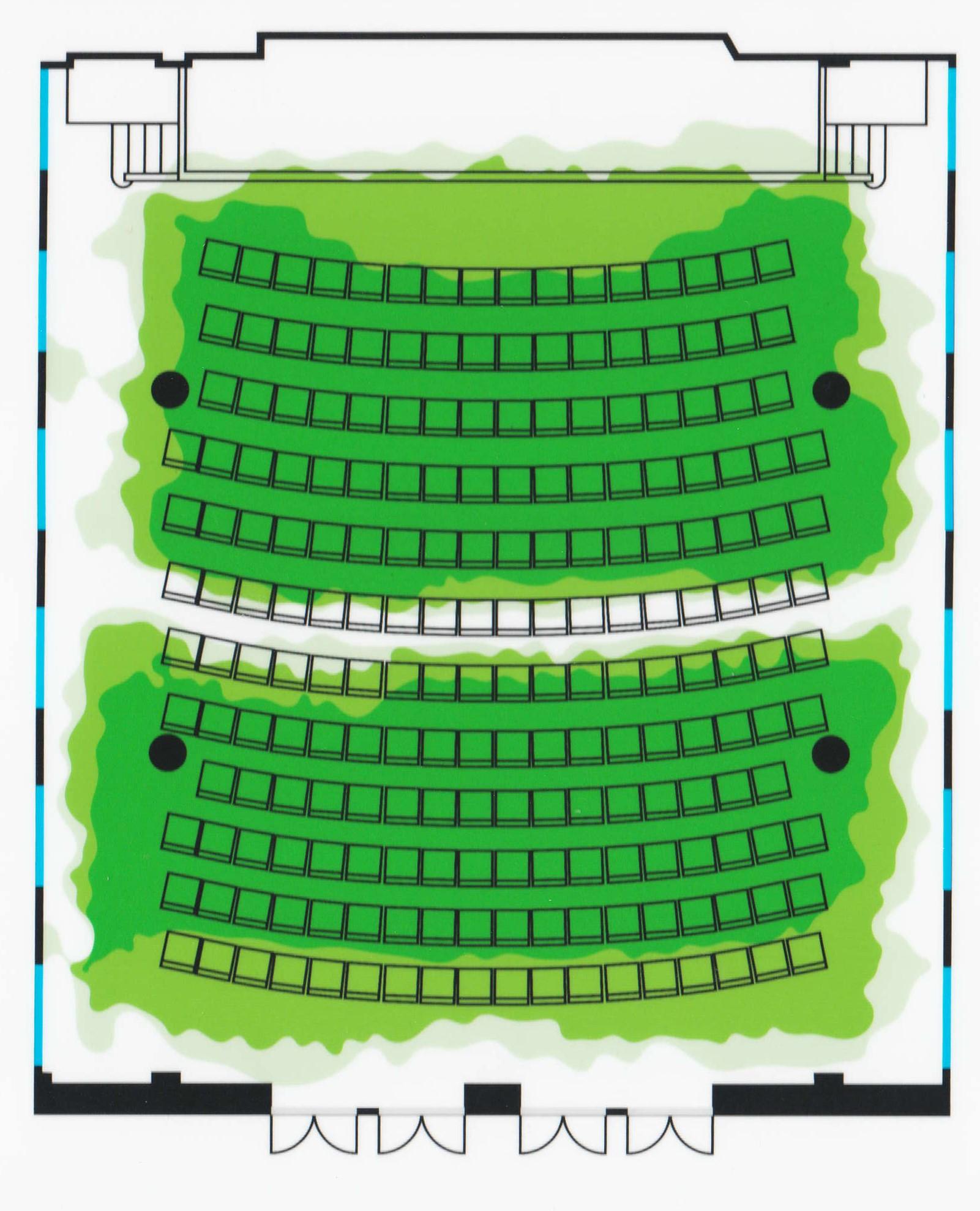 Induktiosilmukka toimii näyttämön kaikilla muilla istumapaikoilla mutta ei rivillä 6 eikä parvella.