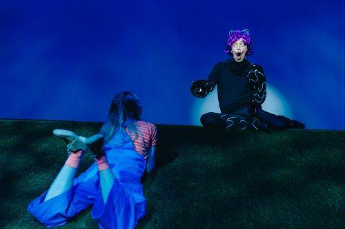 Irvikissa istuu mäen harjalla valokeilassa ja Liisa katselee häntä makoillen nurmikolla.