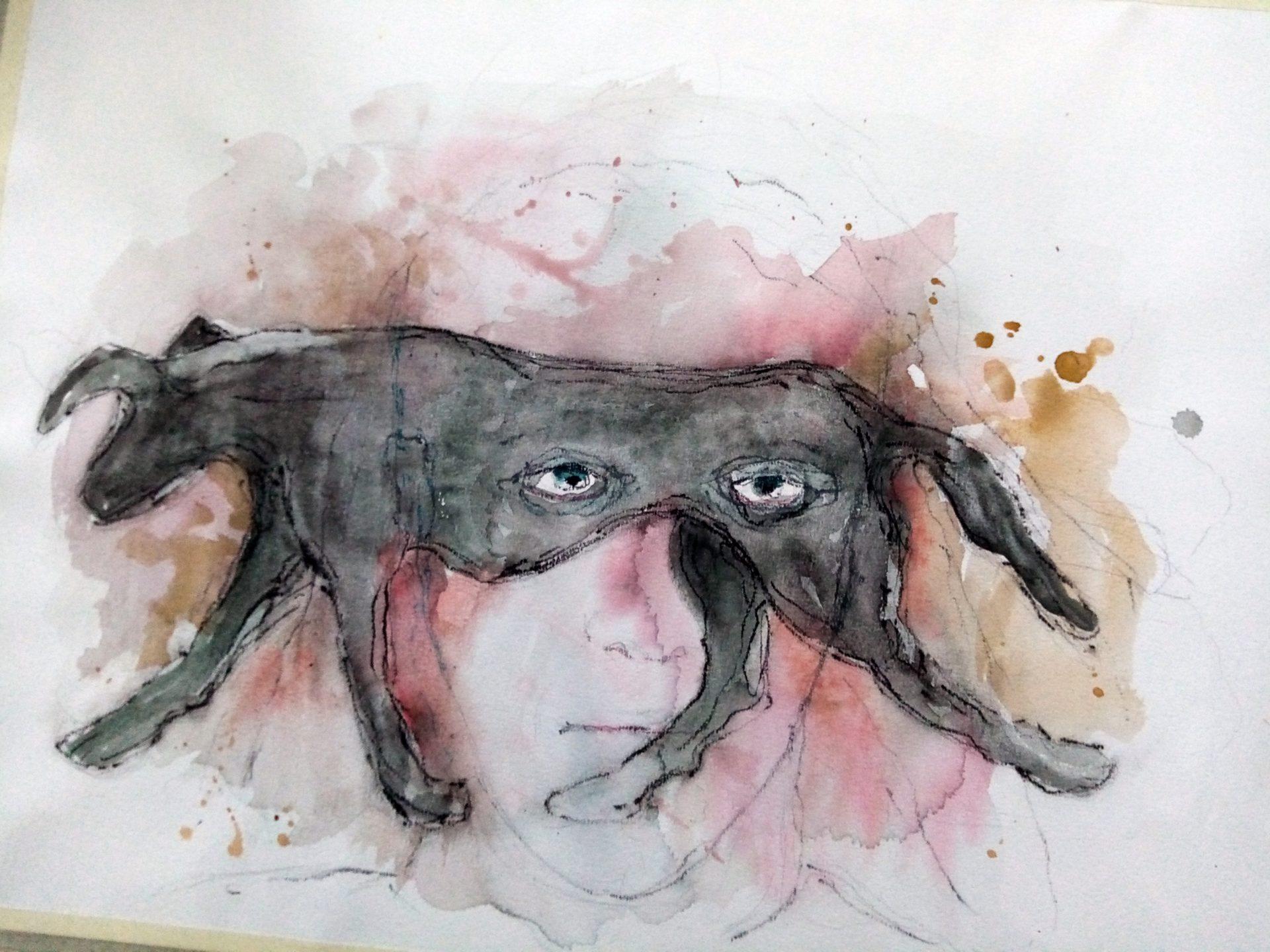 Maalauksessa on koiran hahmo, jonka läpi tuijottavat ihmisen silmät.