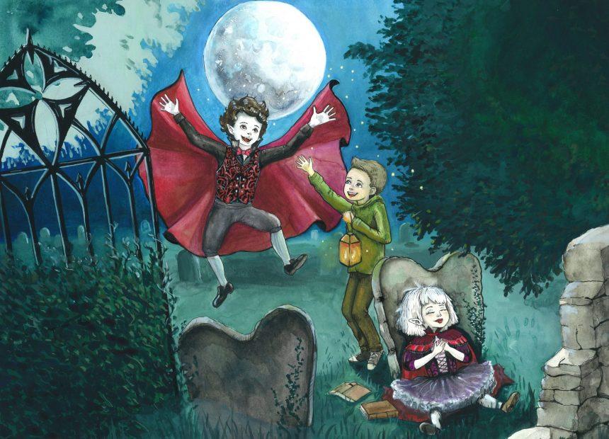 Käsin tehty värikäs maalaus. Hautausmaalla on kolme iloista hahmoa: ihmispoika ja kaksi vampyyrilasta. Vampyyripoika on hypähtänyt tai lennähtänyt ilmaan ja levittää punaista viittaansa. Ihmispoika iloitsee hänen kanssaan ja pitelee lyhtyä. Vampyyrityttö istuu nojaten hautakiveen. Taivaalla on suuri kuutamo.