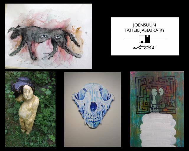 Näyttelyyn kuuluvia taideteoksia yhteiskuvassa